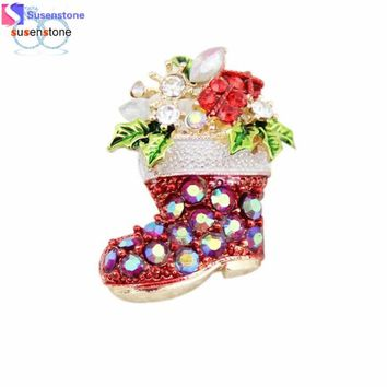 SUSENSTONE Fashion Chain Jewelry Christmas Shoes Rhinestone Brooch Jewelry