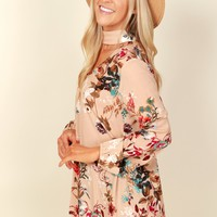 Lively Blooms Print Top Blush