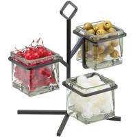 12.5W x 11D x 13H Iron Glass Jar Display 3 Tier