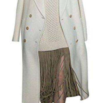 Women's Fashion White Double Breasted Lapel Thick Long Sleeve Maxi Wool Blend Coat
