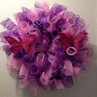 Spring wreath, pink and purple wreath, curl deco mesh wreath, Easter wreath, butterfly and bee wreath