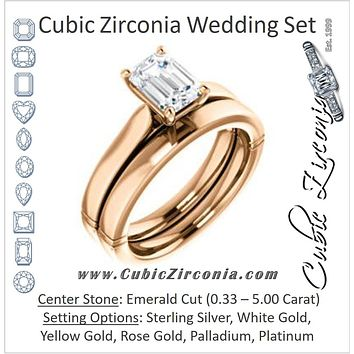 CZ Wedding Set, featuring The Kaela engagement ring (Customizable Emerald Cut Solitaire with Stackable Band)