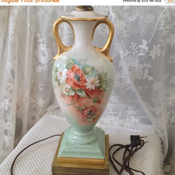 Hand Painted Poppies Table Lamp, Ombre White, Aqua, Sunset Red, Gold Accents, Mid Century Bavarian Style Floral Decor
