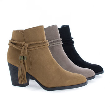 Avenge11M By Bamboo, Almond Toe Tassel Chunky High Heel Ankle Boots