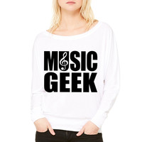 Music Geek WOMEN'S FLOWY LONG SLEEVE OFF SHOULDER TEE