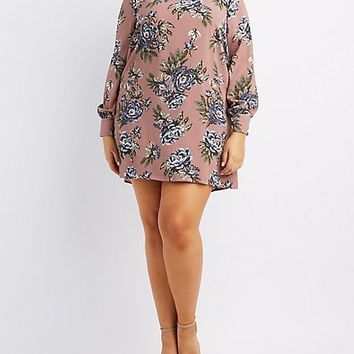 Plus Size Floral Mock Neck Shift Dress