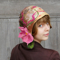 Unique felted cloche hat, retro style hat, brown and beige with pink flower and green leaves. OOAK