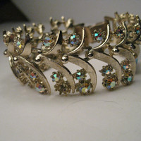 "Vintage Gold Tone Rhinestone Art Deco Wide Bracelet signed ART, 7"" - All stones present"