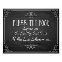 Vintage Chalkboard Bless this food wedding sign Poster