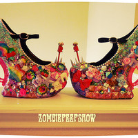 "Kawaii ""Sugar and Spice"" Heelless Curved Crystal Mary Jane Wedges"
