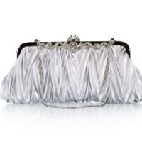 Bundle Monster Womens Vintage Satin Cocktail Party Handbag w/Shoulder Chain-SILVER