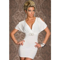 After the Rain Lingerie - White Deep V Short Sleeves Mini Dress - Brides & Bridesmaids - Wedding, Bridal, Prom, Formal Gown