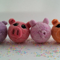 Needle Felted Pig Jingle Bell Ball for Toddler, Custom Colours - MADE TO ORDER