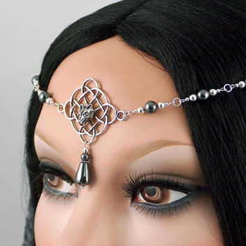 Wolfsbane - Celtic Wolf Solid Sterling Silver and Hematite Gemstone Circlet with Earrings