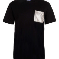 Black Metallic Leather Look Pocket T-Shirt - TOPMAN USA
