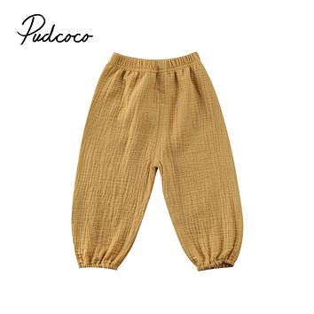 2017 Brand New Toddler Infant Child Baby Girls Boy Pants Wrinkled Cotton Vintage Bloomers Trousers Legging Solid Pants 6M-4T