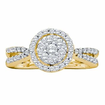 14kt Yellow Gold Women's Round Diamond Flower Cluster Split-shank Ring 1-2 Cttw - FREE Shipping (US/CAN)