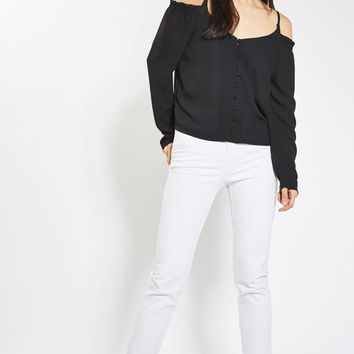 **Cold Shoulder Button Front Blouse by Glamorous - New In