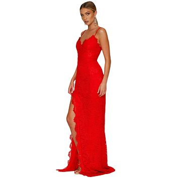 Red Yum Lacy Lace Bridal Party Gown LAVELIQ