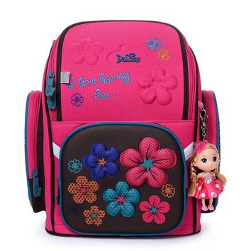 Delune Children Cartoon 3D Bear Pattern Book Bag Girls Portfolio School Bags Foldable EVA Orthopedic Backpack Birthday Gift Doll