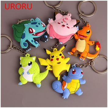 URORU 3D POKEMONGO Anime Mini Charmander Squirtle Eevee Vulpix Go Key Ring Pikachu Keychain Monsters Key Holder Pendant