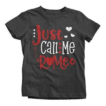 Shirts By Sarah Boy's Just Call Me Romeo Funny Valentines Day T-Shirt Toddler Tee