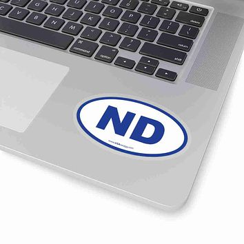 North Dakota NE Euro Oval Sticker BLUE