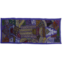 Purple Antique Beads Patchwork Hand Embroidered Wall Tapestry Runner