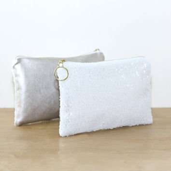 White Sequins and Champagne Metallic Leather Clutch / Sparkly Bachelorette Favor / Fancy Bridesmaid Gift Bag - Almquist Design Studio