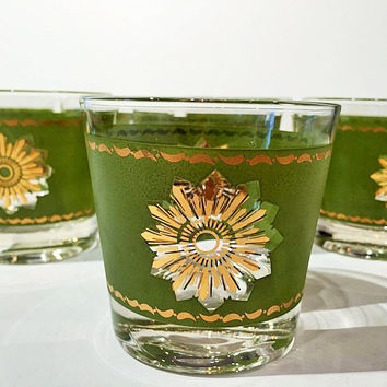 Set of 8 Green and Gold Atomic Sunburst Tumblers, Fantastic Mid Century Glassware Set Green with 22K Gold Sunburst, 8 Green and Gold Barware