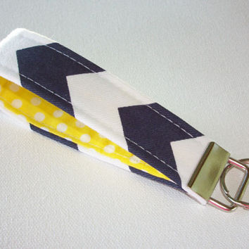 Key FOB / KeyChain / Wristlet key strap  - Navy Chevron zig zag with white on yellow polka dots  - gift for her under 10