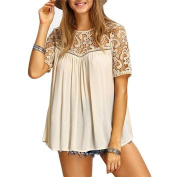 2017 White Women Lace Hollow Out Shirts Cut Out Crochet Short Sleeve O-Neck Patchwork Loose Blouse