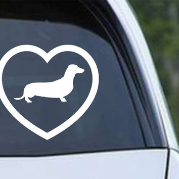 Dachshund Heart Die Cut Vinyl Decal Sticker