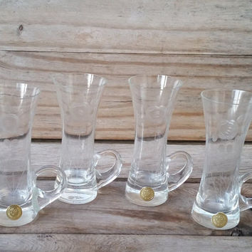 4 Piece Etched Flower Bulgarian SIP Crystal Mug, Espresso Glass, Bar Glass, Shot Glass.