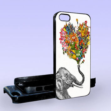 Elephant Art Flowers - Print on Hard Cover - iPhone 5 Case - iPhone 4/4s Case - Samsung Galaxy S3 case - Samsung Galaxy S4 case
