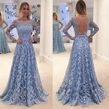 Rose Moda Long Sleeves Blue Lace Prom Dress with Open Back Formal Floor Length Party Dress Custom Made