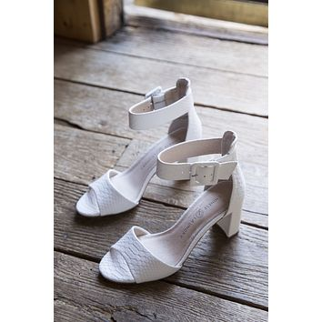 Rumor Snake Block Heels, White | Chinese Laundry