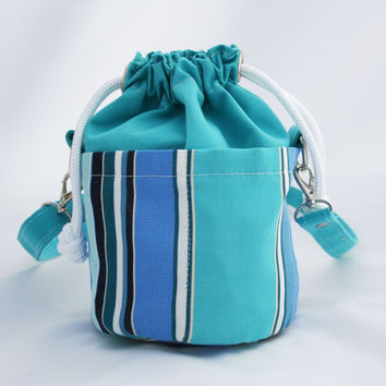 Small Beaudin Ditty Bag in Belize - Drawstring Crossbody Bag -  Teal Blue Turqouise Stripe- Sailcloth Canvas Boat Purse