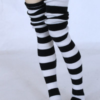 MSD BJD clothes Black and white stripe thigh high socks MonstroDesigns