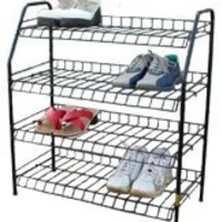 Shoe Rack 4- Tier Rack Size:26W x 11D x 28H. (WHITE)