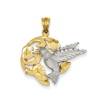 14k Yellow and White Gold 28mm Hummingbird and Flower Pendant