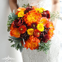 Idelle Wedding Bouquet by Ciel De Lys Autumn Fall Bouquet Realistic Silk Flowers Wedding Flowers Bridal Bouquet