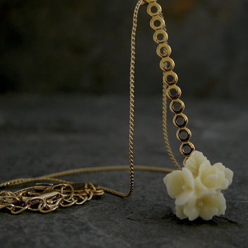 Wedding accessory,Bridesmaid Jewelry, Gold Bridal Necklace,Cherry Blossom Necklace, Bridesmaid Gift, Flower Girl,flower necklace