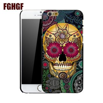 mexican sugar skull 3 fashion case cover for iphone 4 4S 5 5S 5C SE 6 plus 6s plus 7 7 plus 8 8plus x