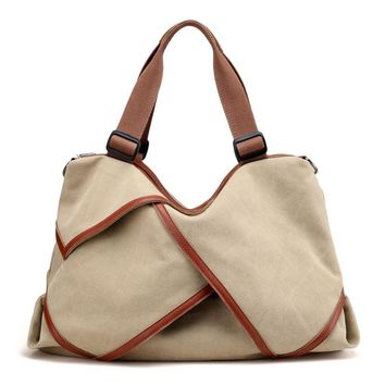 Fashion Large Capacity Hobos Famous Brand Women Bag Female Canvas Leather Shoulder Summer Beach Handbags Lady Travel  Briefcases