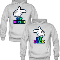 my bitch my dick Couple Hoodies