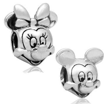 Free Shipping 2pc Large Hole Silver plated Beads Lovely Minnie Mouse Charms Fits Europ