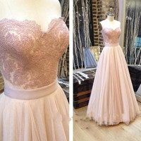 A-line prom Dress,sweetheart Prom Dresses,long prom dress,blush pink prom dress,party dress,PD0013