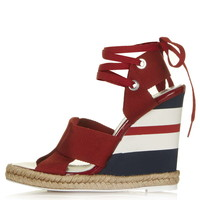 TOPSHOP UNIQUE Folded Strap Wedge Sandals - Topshop