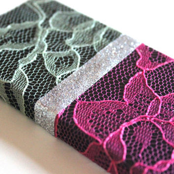 iPhone Case 4/4S - Pink & Green Lace over Black iPhone 4 Case